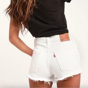 Levi's Distressed White Shorts